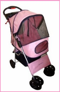 Pink 4 Wheel Easy Fold Dog Stroller