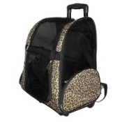 Leopard Print Pet Roller Carrier and Backpack for Dogs and Cats 1