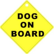 dog on board sticker or sign
