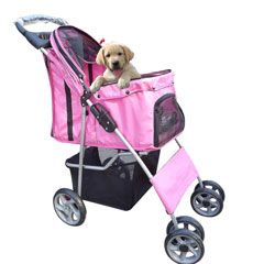 puppy in a puppy stroller, puppy pram, puppy buggy, puppy pushchair