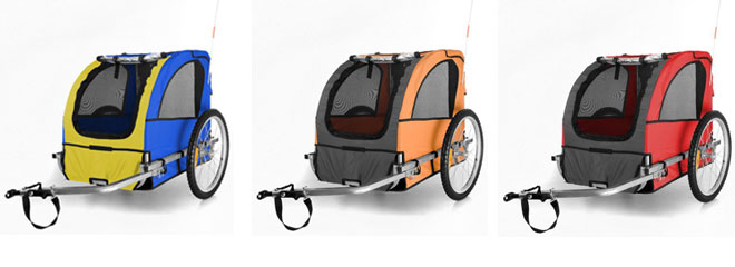 happypet bicycle trailers in blue and yellow, orange and grey, red and grey