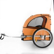 Happypet Bicycle Dog Trailer in Orange side view