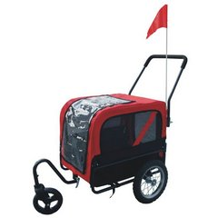 Red and black dog bicycle trailer with stroller and jogger