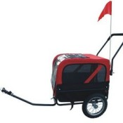 Red and black dog bicycle trailer with stroller and jogger - trailer mode