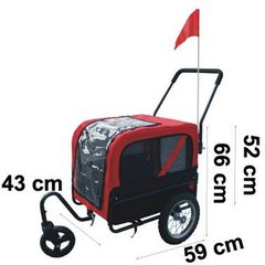 Red and black dog bicycle trailer with stroller and jogger - measurements