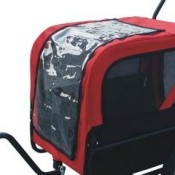 Red and black dog bicycle trailer with stroller and jogger - front zippered plastic view window