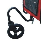 Red and black dog bicycle trailer with stroller and jogger - front wheel attachment for the stroller and jogger mode