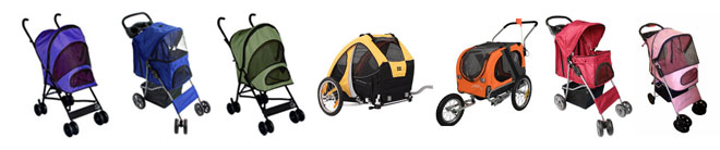Dog strollers and bicycle pet trailers come in sorts of colours.