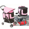Valentina Valenetti pink dog stroller, pet carrier and dog car seat