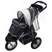 Innopet Three Wheel Dog Stroller Jogger with airfilled tyres - in grey