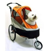 Innopet Sporty Orange and Black Dog Stroller, Jogger and Bicycle Trailer - the front window can be opened up on warmer days
