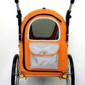 Innopet Sporty Orange and Black Dog Stroller, Jogger and Bicycle Trailer - rear window and storage pocket
