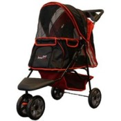 Innopet all terrain dog stroller in black and red